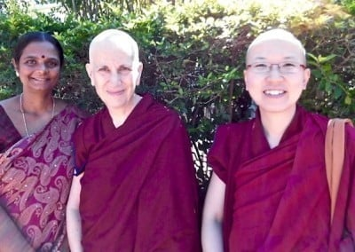 Abbey nuns with one of the Indian sponsors.