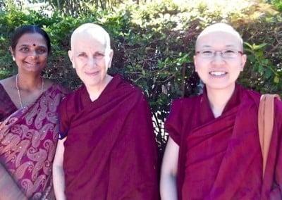 Nuns with Indian woman in sari