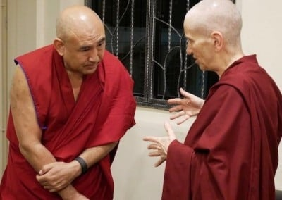 Ven. Chodron chats with the center's resident geshe.