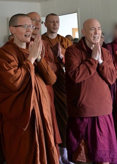 Theravada friends chant to bless the new property.