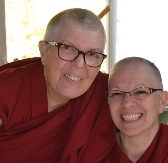 Ven. Jampa Sangmo and Ven. Yeshe rejoice in monastic life.
