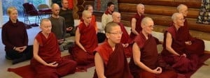 Monastics and lay people meditate.