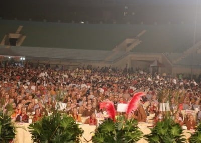 Nearly 15,000 people gather in an outdoor stadium in Kaohsiung to honor the 50 nuns receiving the Global Bhikkhuni Award