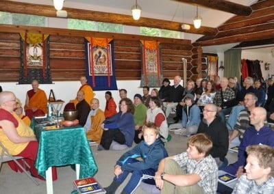 Group listening to teachings