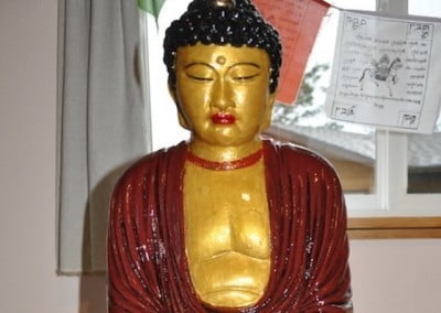 Our forest Buddha shines with a new makeover from friend Juliet Mondal.