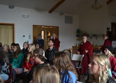 The group gathers and waits for Ven. Chodron to arrive.