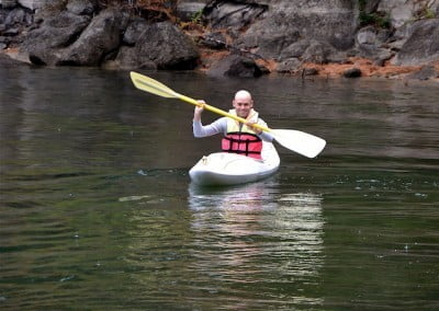 Stephen is at home in the smaller white water kayak.