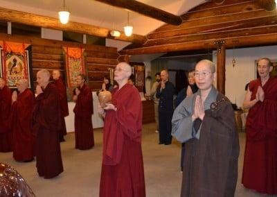 Nuns sing in meditation hall