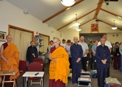 Chanting before Friday teachings on the Gomchen Lam Rim.