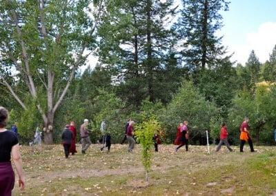 Each day we do walking meditation.