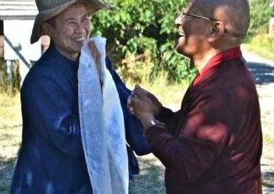 Anagarika offers khata to lama
