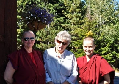 Good Dharma sisters—Ven. Tsultrim,  Marga, and Ven. Jampa.