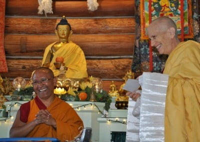 Geshe Dadul receives gift from Ven. Chodron
