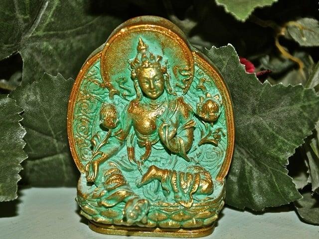 A photo of the Green Tara tsa-tsa.