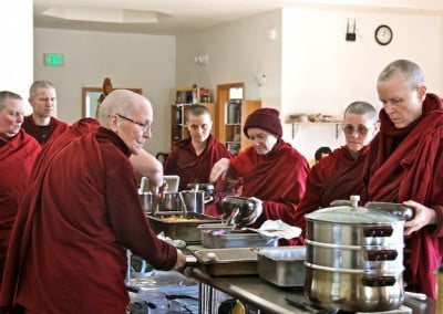 The sangha are nourished by healthy meals.
