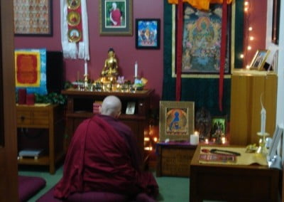 Venerable Jigme finds quiet time to practice.