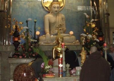 A jade Buddha inside a Buddha Hall.