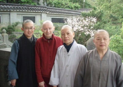 March 25, 2012. Venerable Samten is back at Puyi Yuan temple awaiting departure for the airport to return to the USA. On Venerable Samten's left is another nun who received bhikshuni ordination. They are flanked by two of the nuns from Puyi.