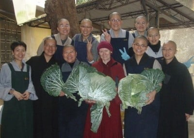 The nuns at Luminary temple were so amazed at the size of these cabbages! Second from the left in the front row is Ven. Jenkir who escorted Venerable Samten to and from the train station and provided translation during the meeting with Venerable Wu Yin! Venerable Wu Yin exuded warmth, wisdom and compassion and gave wonderful advice about how to be during the ordination platforms!