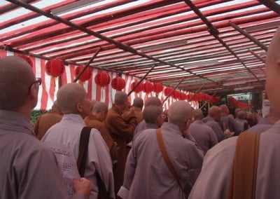 The first day at Fayun Temple, the location of the 32 day training and ordination. Nuns and monks are lined up to check in and receive the five-panel robe. Offering full ordination to monks and nuns was the way that Fayun chose to celebrate its 100th anniversary. This celebration took place on March 17, 2012.