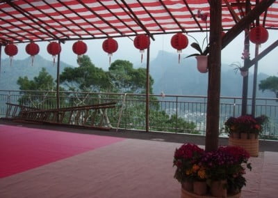 A tentage with some red lanterns hanging and some flowers pots.