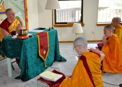 Venerable Jigme challenges the group in her review of the teachings on <br> <em>Mind and Awareness</em>.