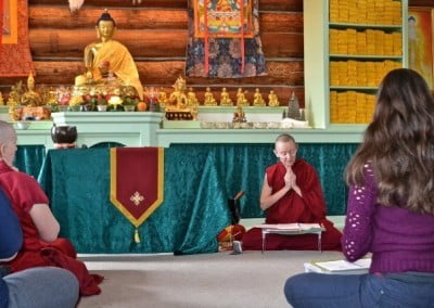 Venerable Samten leads the prayers before the Sharing the Dharma Day meditation.