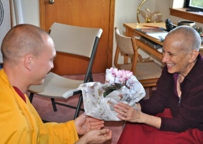 Venerable Jampel makes an offering to his teacher at the end of his <br> 3-month visit at the Abbey.