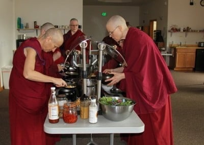 The Sangha enjoy the wonderful lunch offering.