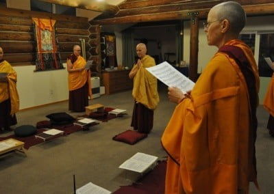 The Sangha respectfully welcomes our Abbess into the Hall.