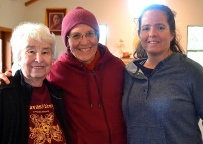Dharma friends Veda, Venerable Semkye, and Rachel.