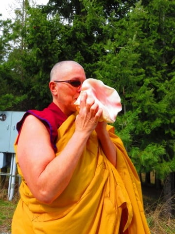Venerable Yeshe blows the conch to invite our guests to the Meditation Hall.