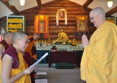 Novice Venerable Damcho invites feedback from Bhikshuni Jigme.