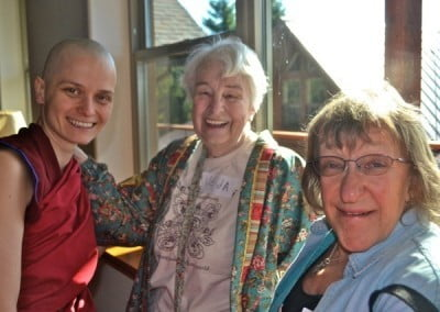Venerable Jampa re-connects with our Spokane friend, Veda, who has brought her friend, Carol.