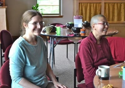 Venerable Damcho and Christine from Maine meet for the first time, although they have worked together on Venerable Chodron's website for over a year.