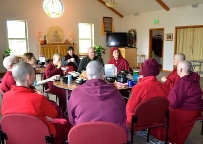 The new bhikshunis share with the community their experience and practice while training for full ordination.