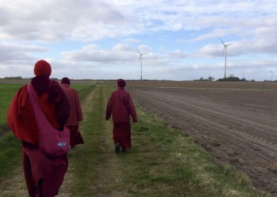Venerable Chodron gets in a long walk with the other nuns.