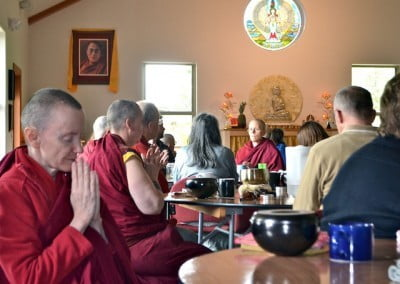 Chanting before meals keeps our mind in the Dharma