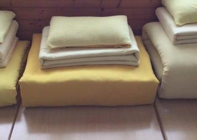 Venerable Jampa's futon-folding is one of the best amongst the 150 participants!