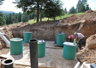 The new septic tanks and pump tank.