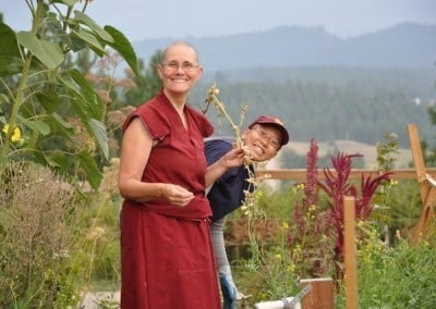 Venerable Chonyi and Ruby keep the Abbey  vegetable garden thriving.