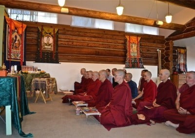 The community does Medicine Buddha practice for an Abbey friend who recently died.