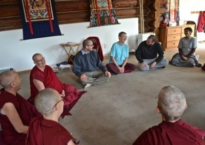 The group sharing brought lots of laughter as we related to each other's tales <br> of adventure in samsara.