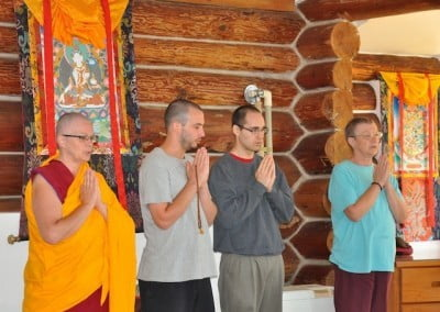 Chanting the Buddha's mantra before teachings brings peace and calm to our minds.