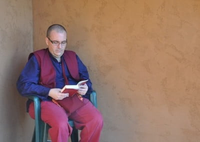 Tenzin takes a time out with the Dharma.