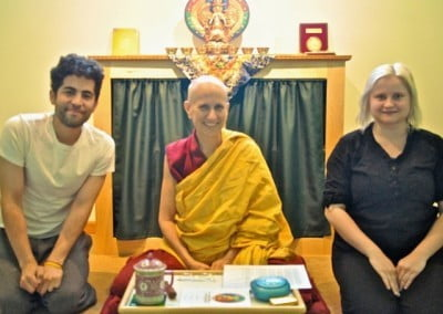 Elizabeth and Manny take refuge and precepts with Venerable Thubten Chodron.