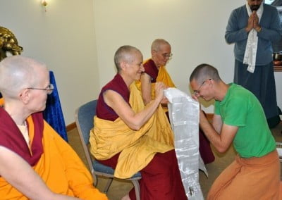 Venerable Thubten Chodron is delighted to accept a khata form Nathan.