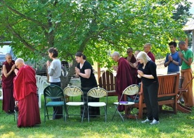 "The ""explorers"" await Venerable Thubten Chodron and the beginning of the morning discussion group."