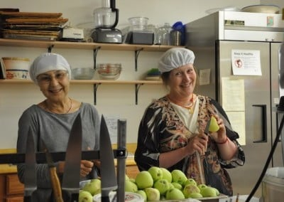 Tanya and Tracy get into the apple processing too.
