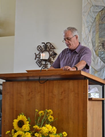 "His visit began with his Sunday ""sermon""  at the Unitarian Universalist Church of Spokane."